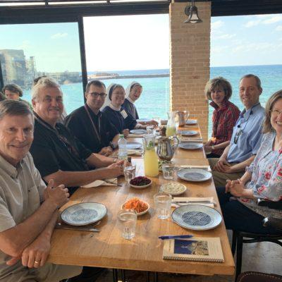 Enjoying lunch on the Mediterranean Cesearea Maritime